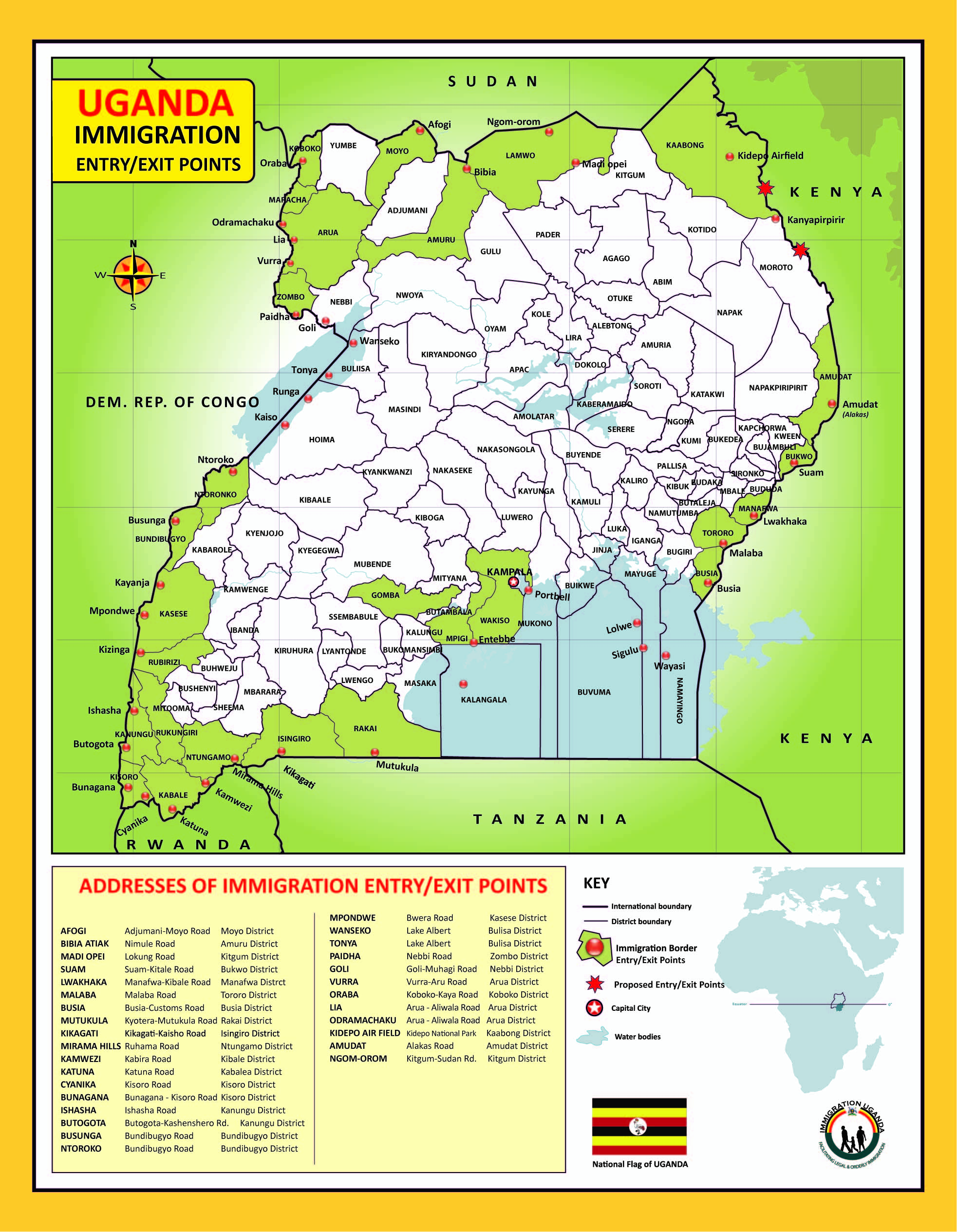 How to travel to Uganda:  Uganda's immigration operates 40 entry/exit points, 13 passport centers and 9 regional offices around the country's borders