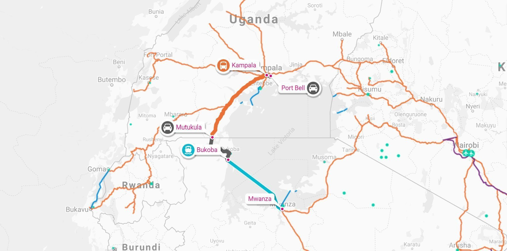 Map showing direct route between portbell and mwanza