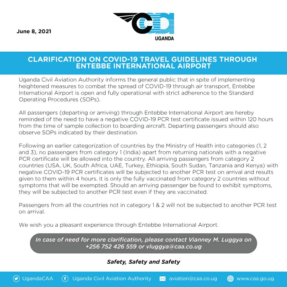 CAA Covid travel guidelines through Entebbe International Airport